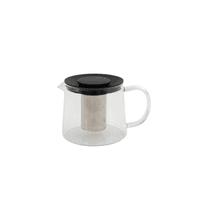 Teekanne aus Glass mit Infuser aus Edelstahl schwarz 1L